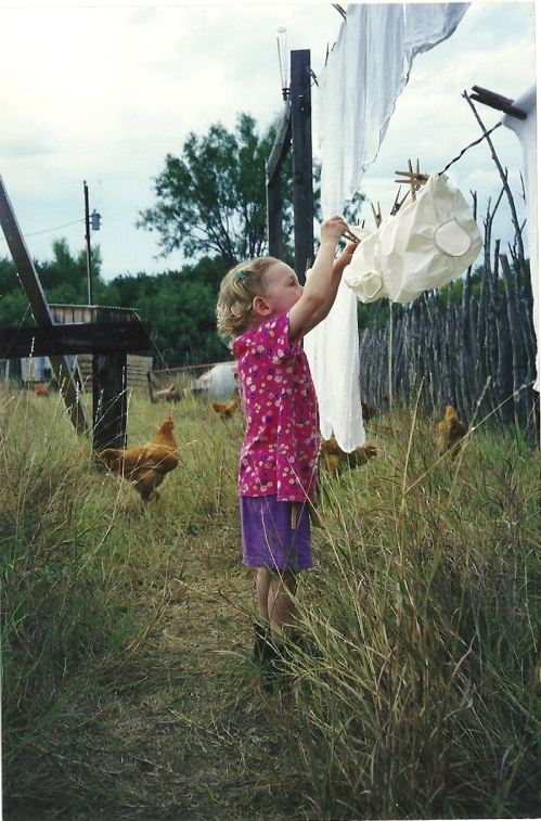 Walker hangs laundry 1999