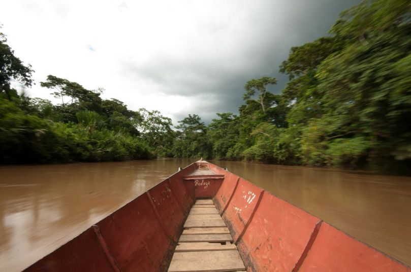 Red boat on Amazon River from Pixabay